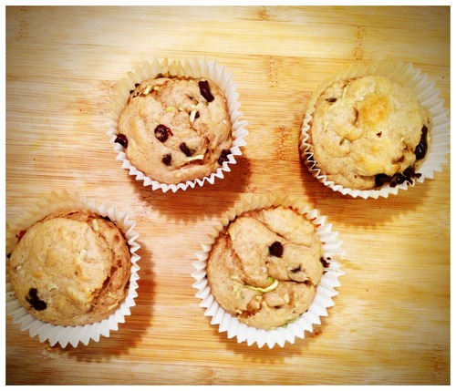 Skinny Zucchini Banana Chocolate Chip Muffins