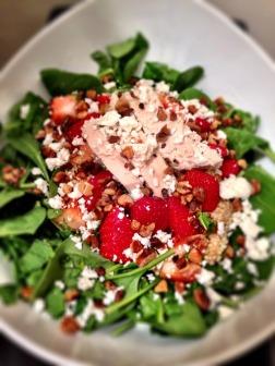 Strawberry Quinoa Feta Chicken Salad