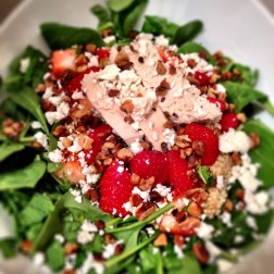 Strawberry Quinoa Feta Chicken Salad