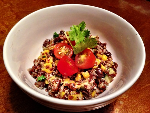 Black Bean, Roasted Corn & Avocado Quinoa Salad