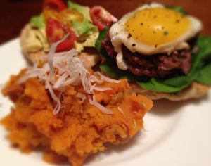 Bison Burger with Paleo GF Bun and Mashed Coconut Sweet Potato