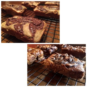Paleo Cinnamon Chocolate Swirl Banana Bread & Paleo Cinnamon Chocolate Swirl Pumpkin Bread