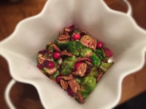 Pan Seared Brussels Sprouts with Cranberries and Pecans