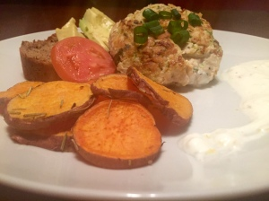 Zucchini Turkey Burgers with Yogurt Lemon Sauce and Coconut Rosemary Sweet Potato Rounds