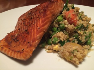 Asian Ginger Salmon and Cauliflower Fried Rice