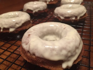Paleo Banana Bread Donuts with White Chocolate Glaze