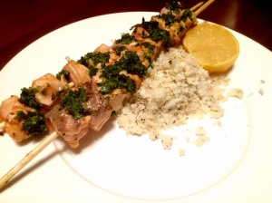 Grilled Salmon Kebobs with Parmesan Pesto and Cauliflower Rice