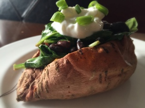 Black Bean and Spinach Stuffed Sweet Potato
