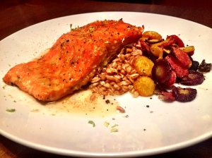 Honey Glazed Salmon, Farro and Carrot Chips