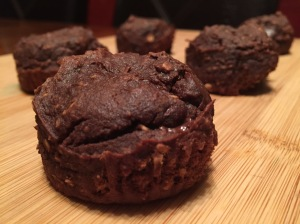Chocolate Avocado Banana Oatmeal Muffins