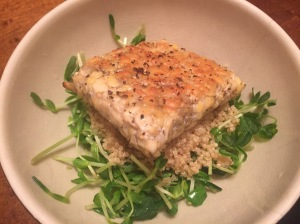 Asian Inspired Tempeh Over Pea Shoots and Quinoa