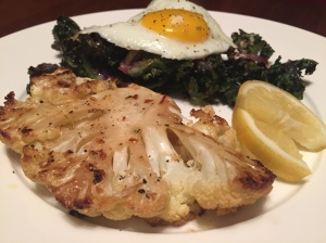 Roasted Cauliflower Steak with Kale Sprouts