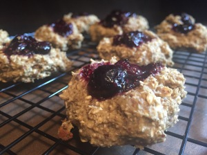 Raspberry and Blueberry Chia Seed Jam and Flourless Banana Breakfast Thumbprint Protein Cookies