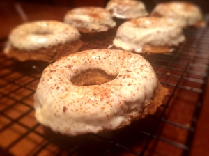 GF Pumpkin Banana Baked Donuts With White Chocolate Frosting