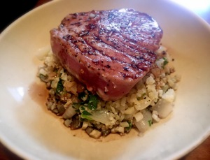 Seared Tuna Over Cilantro Lime Cauliflower Rice with an Orange Balsamic Glaze
