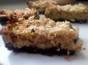 Pineapple Coconut Bars With Chocolate Date Crust
